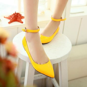 Patent Leather Pointed Toe Ankle Strap Flats Women Shoes 5646