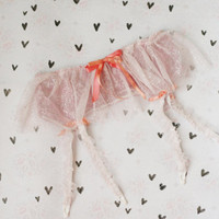 CLOUD / Pink tulle and lace garter belt / Ready to ship