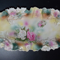 RS Prussia Celery Tray Double Handle Carnation Mold Multi Roses