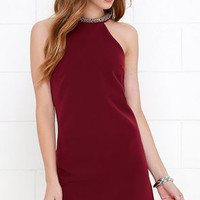 Comely Beaded Burgundy Dress