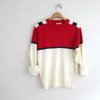 vintage ski sweater. red and white knit. Down Hill Skiing. size medium