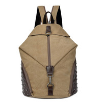 Fashion Personality Vintage Rivet Leather + Canvas Backpack Tide Patchwork School Casual Travel Bag