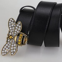 Bee Woman Fashion Smooth Buckle Belt Leather Belt Yellow Tagre™