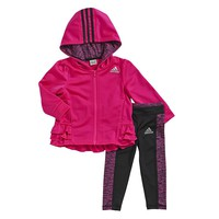 adidas Pirouette Tricot Ruffled Hooded Jacket & Pants Set - Baby Girl, Size: