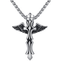 Stainless Steel Crown Angel Wing Cross Pendant Necklace