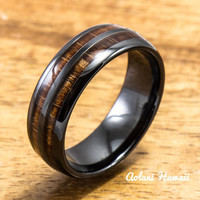 Ceramic Ring with Hawaiian Koa Wood (6mm - 8 mm width, Barrel Style)