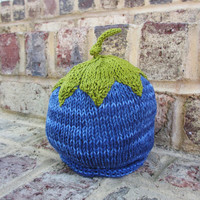 Blueberry Hat - 0-6 Months - Soft Hand Knit - Ready to Ship