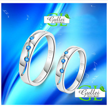 Korean Style 925 Sterling Silver Connecting Couple Ring Set - GULLEITRUSTMART.COM
