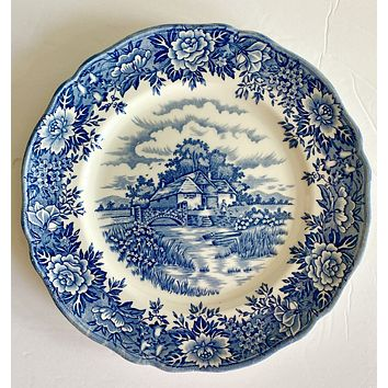 Vintage Blue English Transferware Plate Roses Rowboat English Farm house Bridge Stream 10""
