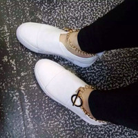 Comfortable Elegant New Causal Korean Leather Shoes Metal Chain Decoration Velcro Loafer Shoes [4920339588]