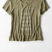 AEO Women's Soft & Sexy Graphic Baby T-shirt (Dusty Olive)