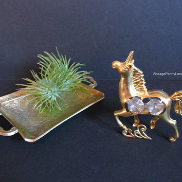 Vintage Mini Brass Tray / Trinket Dish with Bonus Gold Metal Unicorn Figurine