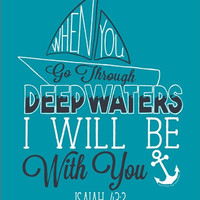 Southern Couture Deep Waters Christian Anchor Sail Boat God Isaiah Girlie Bright T Shirt