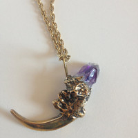 Antiqued Gold Brass Eagle Claw / Talon Amethyst  Necklace