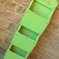 Green Wall Mail Holder Sorter Organizer Upcycled Wooden