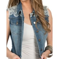 Eni Jeans Denim Vest with Lace Trim