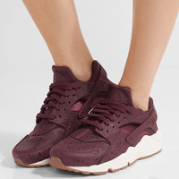 Nike - Air Huarache Run embossed leather and mesh sneakers