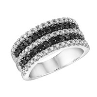 Black Diamond and Diamond Fashion Ring 3/4ctw