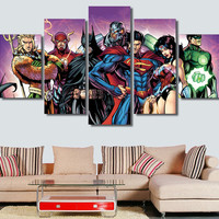 5 Pcs Comics Justice League Cyborg Canvas Painting On The Wall Art Canvas Pictures For Living Room Home Decor Modular Pictures