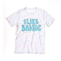 I LIKE BANDS tshirt Tshirt Tee Tumblr blanc unisexe fashion women pink white tee shirt tumblr graphic size S M L - 5sos one direction