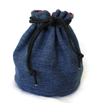 Bucket Bag Blue Denim & Medium Red Upcycled Blue Jeans Rustic Travel Tote Toy Block Bag  - US Shipping Included