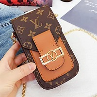 LV Louis Vuitton Hot Sale Women Leather Shoulder Bag Crossbody Satchel Chain Mobile Phone Bag