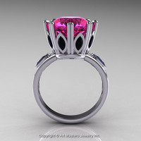 Classic 14K White Gold 5.0 Ct Pink Sapphire Marquise Black Diamond Solitaire Ring R160-14KWGBDPS