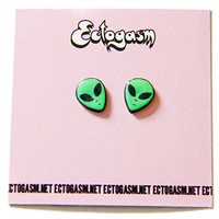 90s Grunge Alien Head Earrings in Green, UFO rave jewelry and fashion accessory