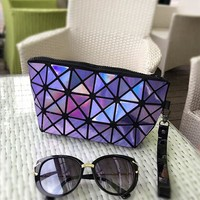 new fashion make up bag LASER PU casual cosmetic bags cases Geometric folding women makeup pouch travel organizer toiletry kit