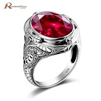 Sterling Silver Rings with Ruby Stones - Vintage Women Jewelry