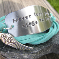 Motivational Quote wrap bracelet, Stamped inspirational bracelet with wing, choose your color of faux suede cord