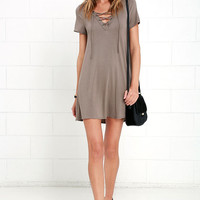 Wonderland Taupe Lace-Up Swing Dress