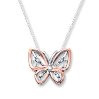 Butterfly Necklace 1/20 ct tw Diamonds Sterling Silver/10K Gold
