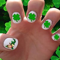 St. Patrick's Day // Clover // St. Patty's // Holidays // Spring // Lucky // Leprechaun // Nail Decals Transfer Nail Stickers //