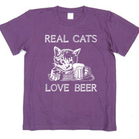 Real Cats Love Beer Tshirt - White version Cat screen printed on dark color Tshirts - Available in unisex sizes - men - women