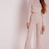 Missguided - Ribbed Wide Leg Pants Nude