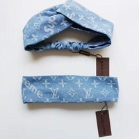 Louis Vuitton Blue Denim Headband