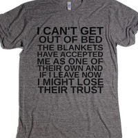 I Can't Get Out Of Bed-Unisex Athletic Grey T-Shirt