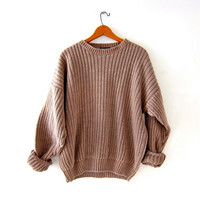 vintage light brown sweater. chunky knit sweater. loose knit sweater. basic sweater.