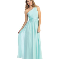 2014 Prom Dresses - Blue Chiffon Ruched One Shoulder Column Gown