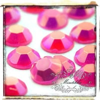 Set of 200 PCS X 5mm Hot Pink AB Bubblegum Jelly Colored Round Rhinestone Resin Faceted Gems - Nail Art / Decoden Craft Supplies (GM.RJ5MH)