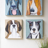 Set of 4 Dogs Oil Painting