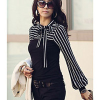 Classic Black Or White Striped Tie Blouse - Edit Listing - Etsy