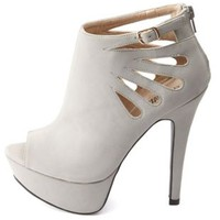 Cut-Out Peep-Toe Platform Booties by Charlotte Russe - Gray
