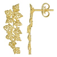 14k Yellow Gold Grape Leafs Drop Post Climber Earrings