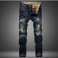 Ripped Holes Fashion Slim Rinsed Denim Jeans [1922679898205]
