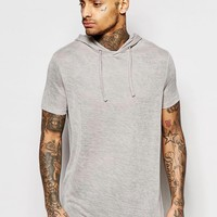 ASOS Longline Hooded T-Shirt In Linen Look Fabric In Stone