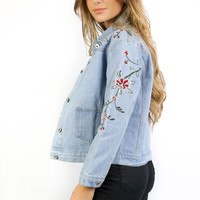 Wandering Wild Denim Jacket With Floral Embroidery