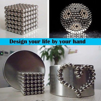 216 pcs Diameter 5mm Buckyballs Neocube Neo Cube Magic Cube Puzzle Magnetic Magnet Balls Spacer Beads Silver Education Toy +Box