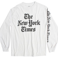New York Times Newspaper Header Logo on long sleeve graphic tee (S, M & L Only)